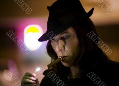 Woman Lighting Cigar