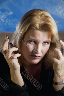 Frustrated Blonde Woman