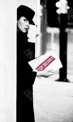 Spy with Top Secret Document