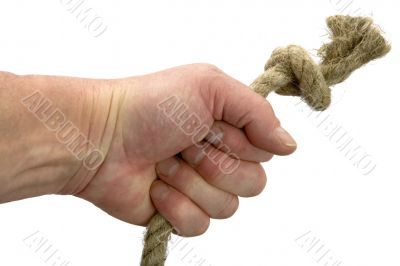 Hand keeps rope with node
