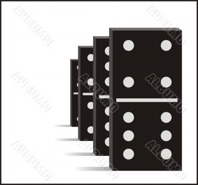 Four black dominos graphic illustration