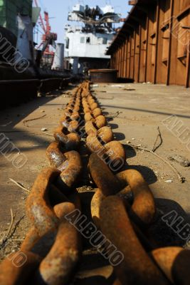 Barge and chains