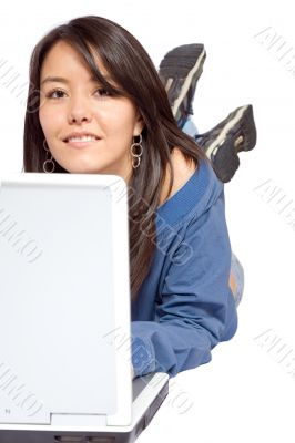 beautiful casual woman with laptop
