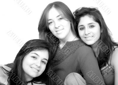 beautiful female friends in black and white