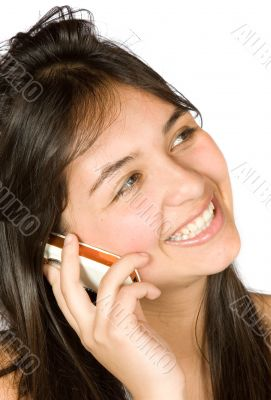 beautiful girl talking on the phone - messy hair