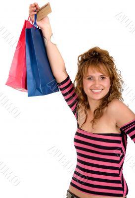 beautiful girl with shopping bags