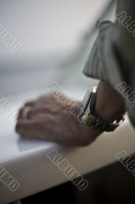 close up of hand with watch