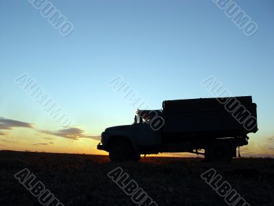 silhouette of lorry