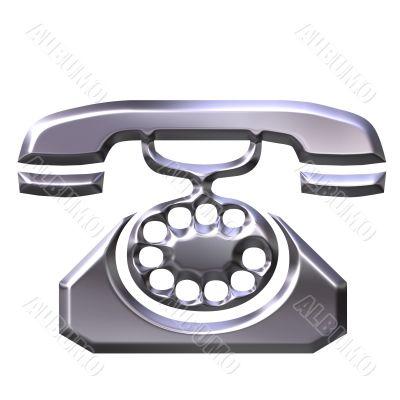 3D Silver Antique Telephone