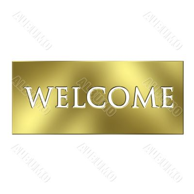 3D Golden Welcome Sign