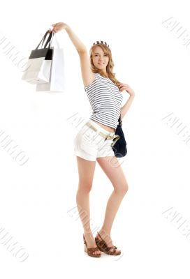 cheerful blond with shopping bags 2
