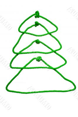 New year`s fir tree from rope