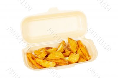 Potatoes on styrofoam container