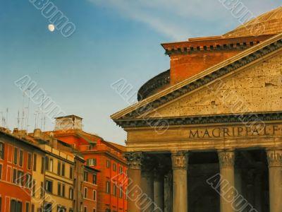 Moon on the Pantheon