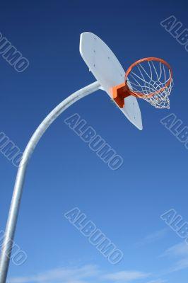 New basketball backboard and clear sky