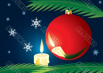 Candle and xmas ball. A christmas card.