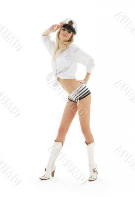 lovely blond in sailor cap and white boots