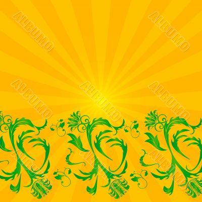Grunge floral background. Vector illustration.