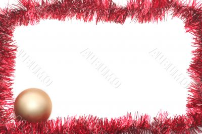Red New Year`s tinsel and gold sphere