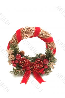 Round New Year`s wreath