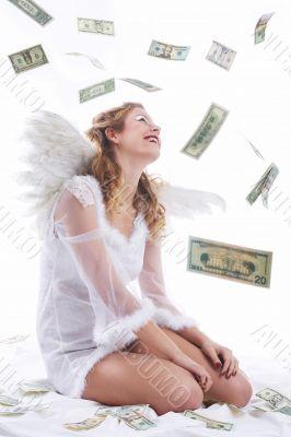 angel sitting, money raining, wonder snowing
