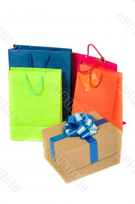 shopping bags in bright colours