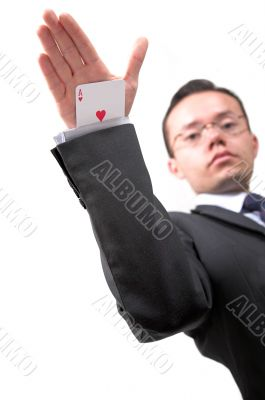 ace card under sleeve - business man