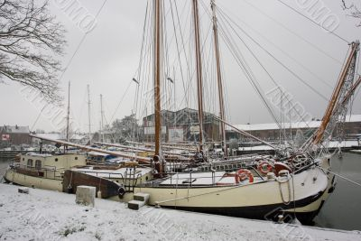 A ship in the snow
