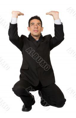 business man pushing something up