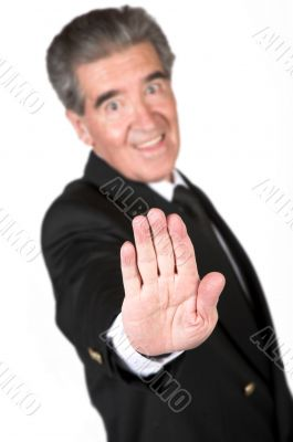 business man with hand in front
