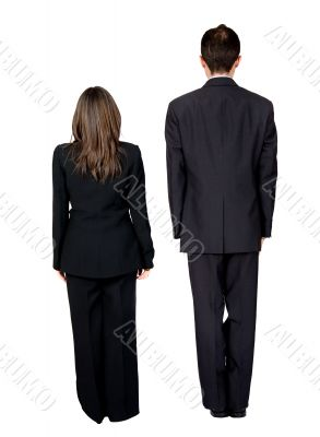 business partners standing from the back