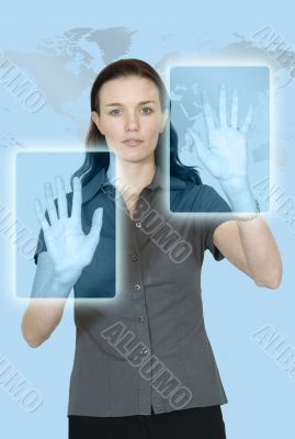 business woman technology in cyan