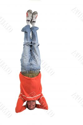 casual guy doing the headstand