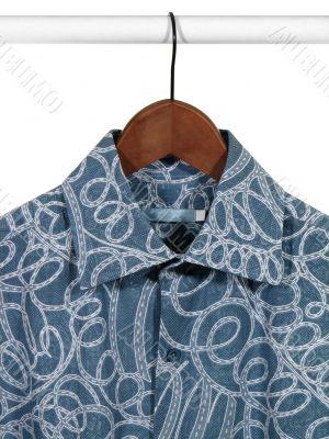 Blue shirt on hanger