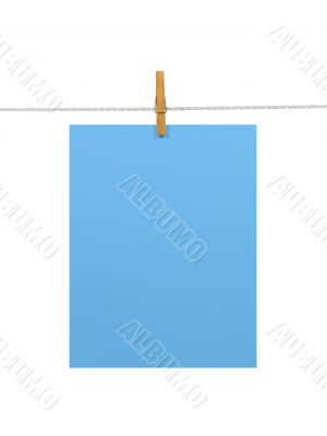 Sky-blue paper sheet on a clothes line (+2 clipping paths)