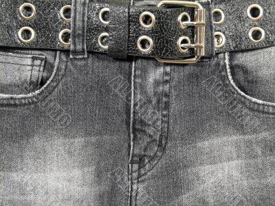 Black jeans, black leather belt