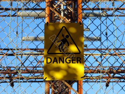 Danger sign at the power station
