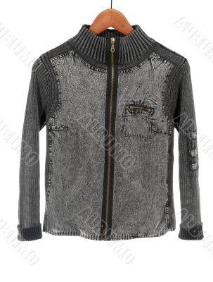 Gray denim jacket on white background