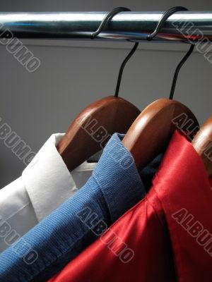 Shirts representing the colors of Russian flag