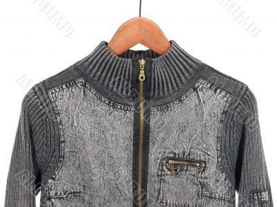 Jean jacket on a hanger