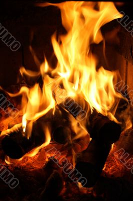 Flames dancing in fireplace