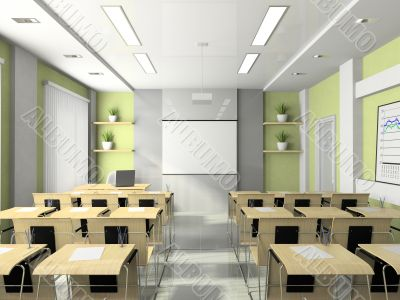 Interior of the lecture-room for seminars, studies, trainings or