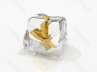 Yen in ice cube 3D rendering