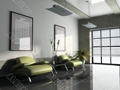 ofise interior whis too green armchairs 3D rendering