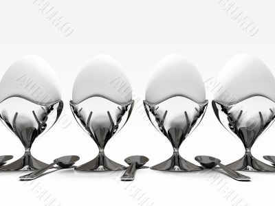 egg on metallic stand on white background 3D rendering