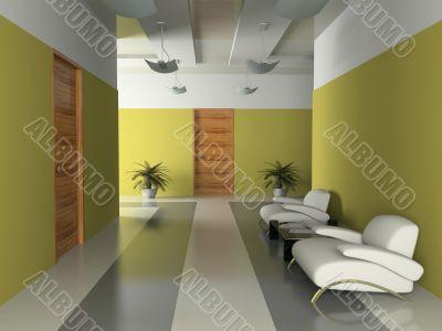 Interior of the corridor in office 3D rendering