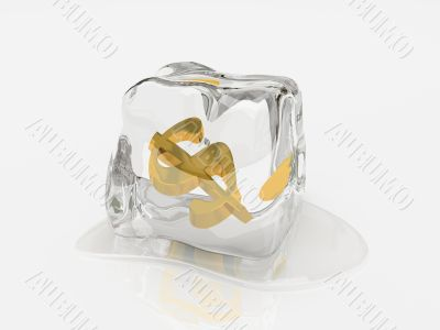 Dollar in ice cube 3D rendering