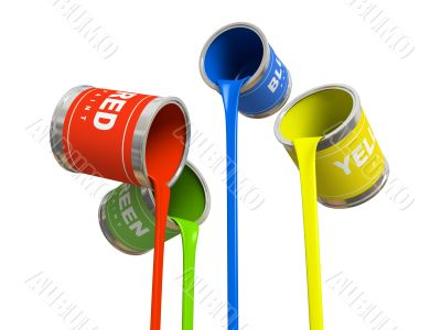 Four banks of multicolored paint 3D rendering