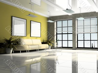 Office interior 3D rendering