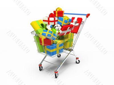 Varicoloured gift boxes in shop pushcart 3D rendering
